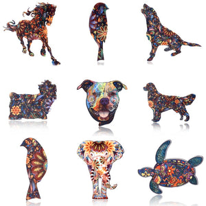 Acrylic Horse and Animal Brooches