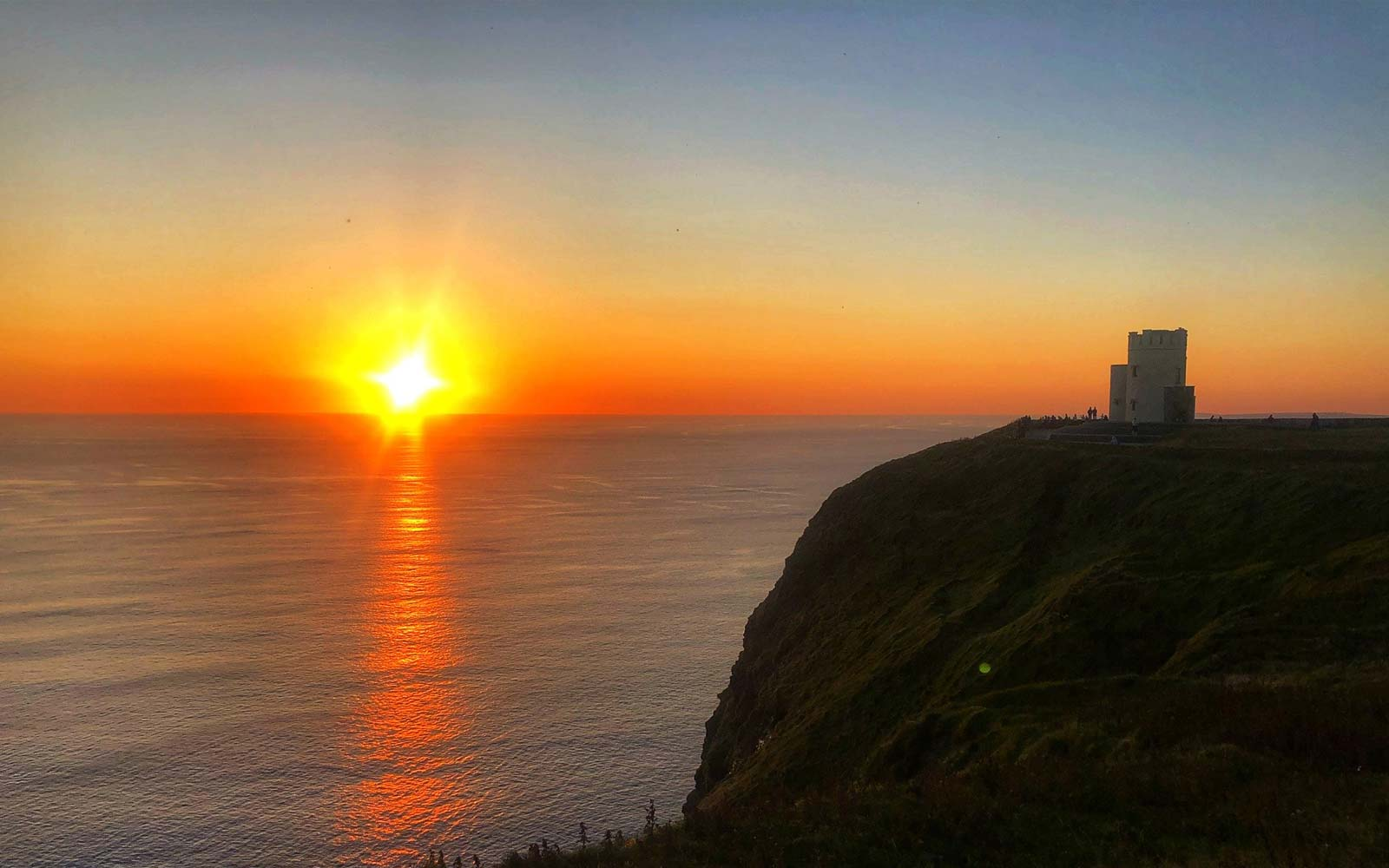 Sunset At The Cliffs Of Moher With O Briens Castle In The Foreground