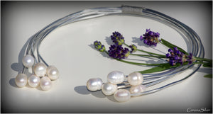 Corona Silver - Silver Necklace with Fresh Water Pearls