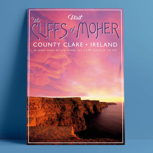 """Visit The Cliffs of Moher"" Retro Vintage Print"
