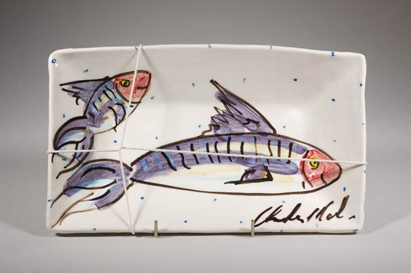 'Mackerel' rectangle Platter - medium- Charlie Mahon Pottery