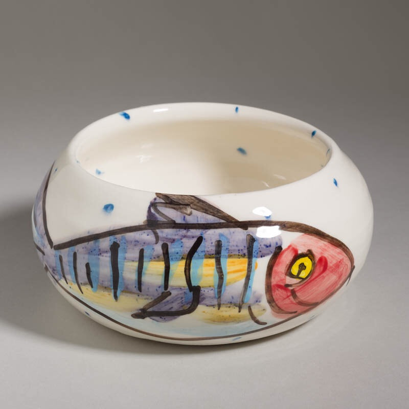 'Mackerel' Curved Bowl - large - Charlie Mahon Pottery