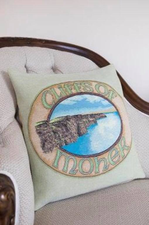 Tapestry Cushion Cover of the Cliffs of Moher - Handmade in Ireland
