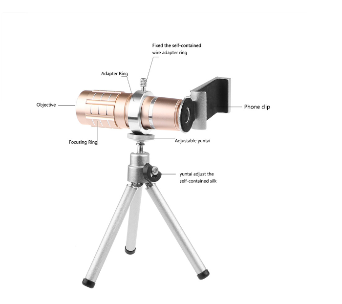 Universal Aluminum 12X Zoom Telephoto Lens With Metal Tripod for Smartphones