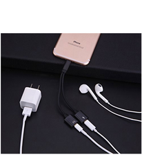 Headphones & Charger Adapter for iPhone X, 8, 8plus, 7, 7plus Converter 2 in1 Dual Lightning to 3.5mm