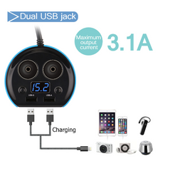 Car Charger, 12V 24V 80W Car Cup Charger Multi-function Power Adapter with 2-socket Cigarette Lighter Splitter + Dual USB Ports 3.1A for iPhone Android Samsung Galaxy GPS Dash Cam