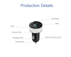 Dual Universal USB Port Car Charger 5V 3.1A Quick Charge LED Display Car Voltage Diagnostic for iPhone Android & More