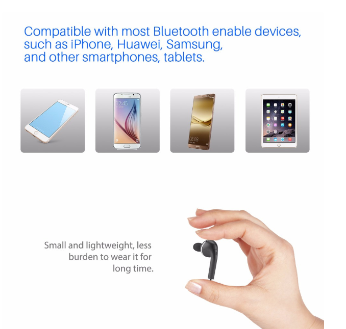 Mono Mini Bluetooth Earphone Multi-point Pairing Wireless Headset With Mic Handsfree Use For Smartphone