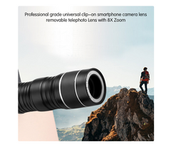 Universal 8x Zoom Optical Telescope Clip-On Camera Lens for Smartphones - iPhones, Galaxy and more