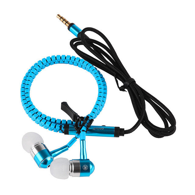 Universal Sport Earbud Metal Zipper Stereo Earphone Headset with Mic Remote for Smartphones