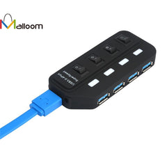 USB 3.0 Hub, 4 Ports USB 3.0 Splitter Power Supply Adapter Superspeed Data Transfer with Individual On/Off Switches and LEDs 1m USB Cable for Mac/iMac/Macbook Pro, Laptop & Window PC