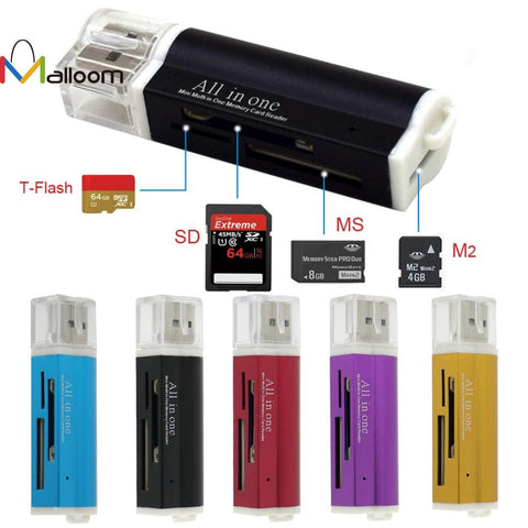 USB Card Reader for Micro SD SDHC TF M2 MMC MS PRO DUO All in 1 USB 2.0 Multi Memory Card Reader USB For Windows &  Mac