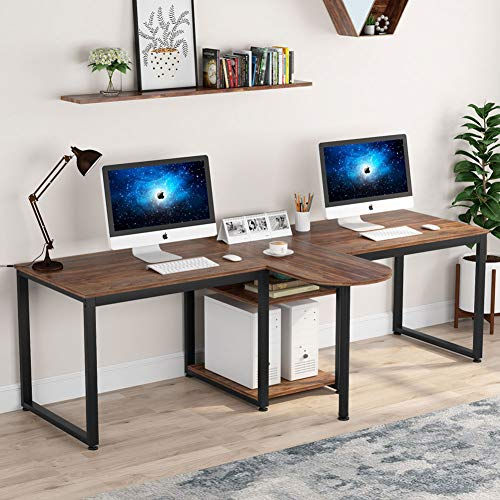 94.5 inch Two Person Desk, Extra Long Rustic Computer Desk with Storage Shelves
