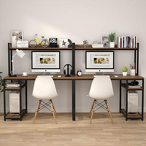 94.5 inches Computer Desk with Hutch, Extra Long Two Person Desk