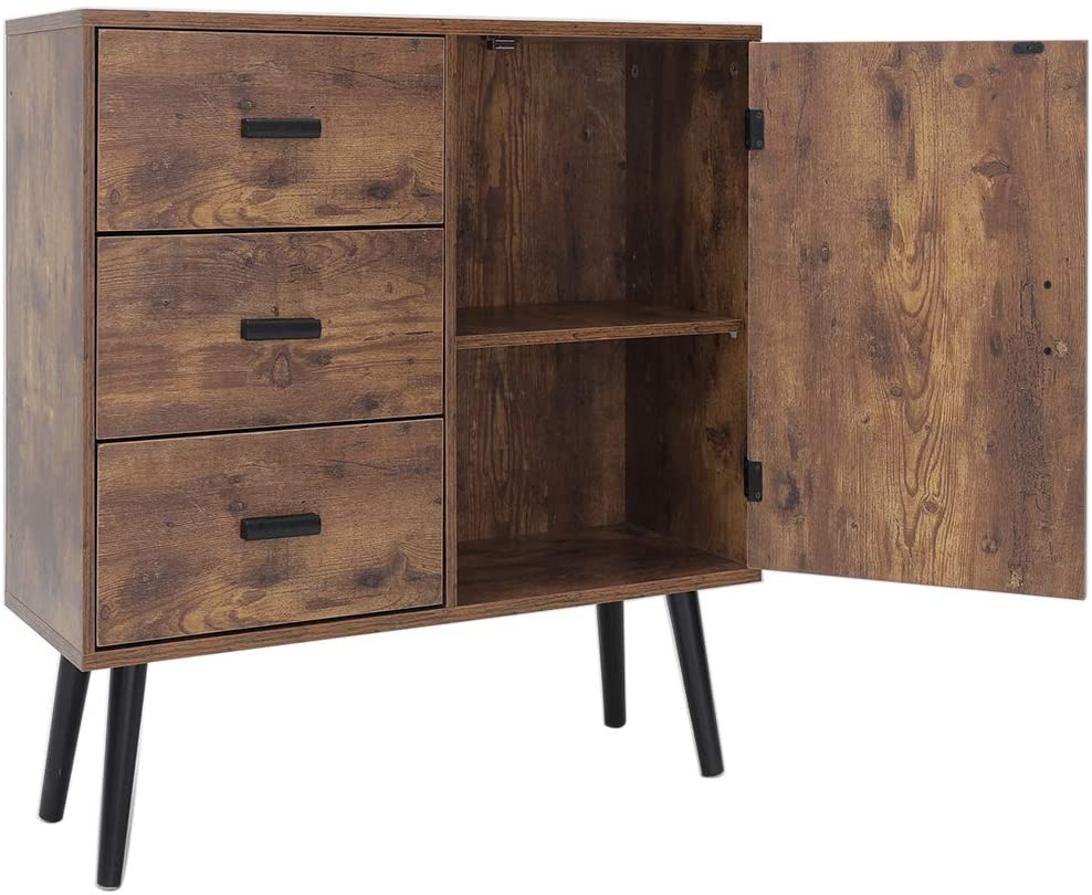 31 Inches Storage Cabinet with 3 Large Drawers & 1 Side Cabinet with Adjustable Shelf