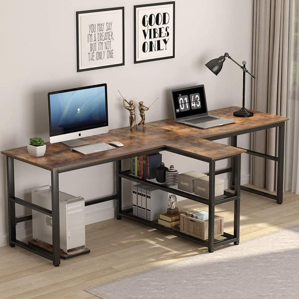 94.5 inch Computer Desk Brown, Extra Long Two Person Desk with Storage Shelves