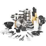Cookware set 80 piece arrival fda top real cooking pots pans kitchen starter combo utensil