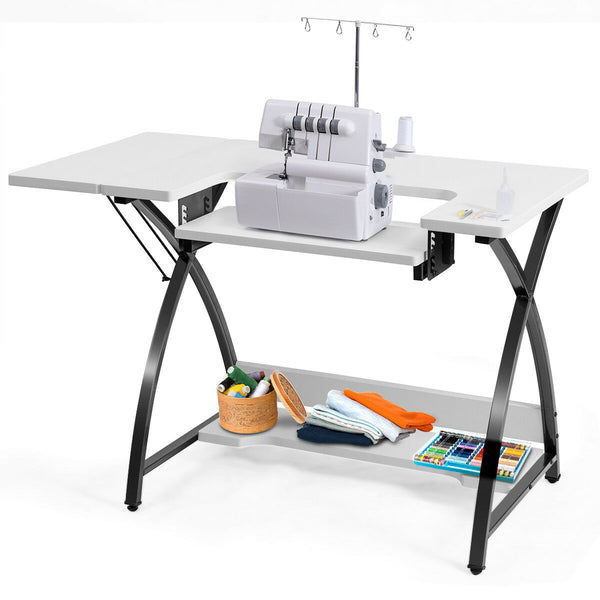 2 in One Sewing Craft Table and Computer Desk with Adjustable Platform Folding Side Shelf