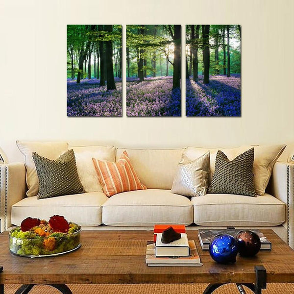 Wall art romantic bluebell in forest hd canvas print for living room/bedroom decoration set of 3 ready to hang