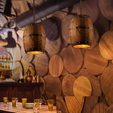 Hanging fixture american country loft wood wine barrel ceiling pendant lamp e27 light for bar cafe living dining room restaurant