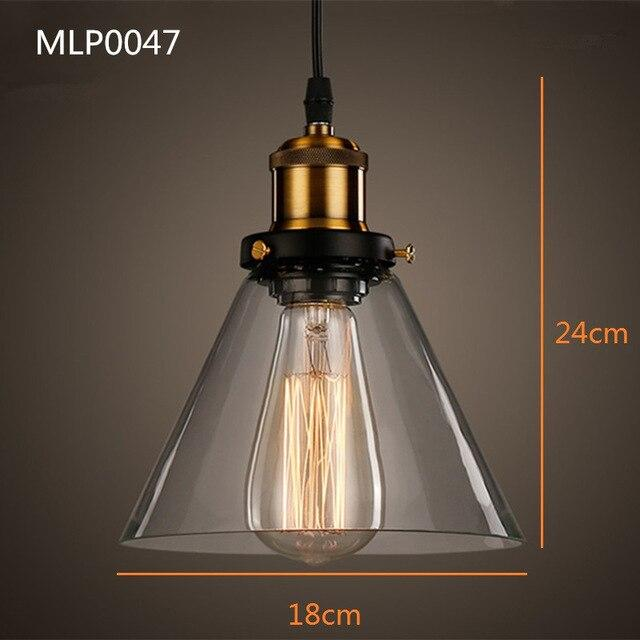 Glass lamp shade amber pendant industrial lighting fixtures kitchen home modern LED light vintage ceiling