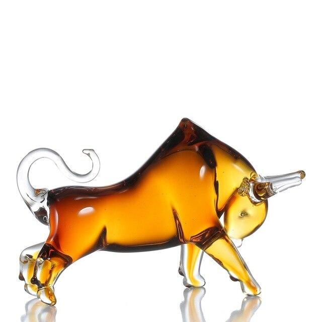 Glass figurine tooarts cattle home decor animal favor gift craft decoration for office