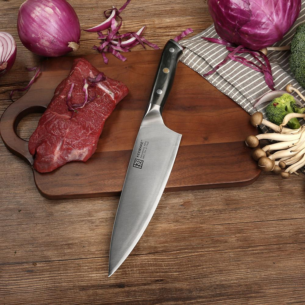 "Chef knife 8"""" inch liquid metal blade 70hrc strong hardness kitchen g10+s/s handle cooking cutter"