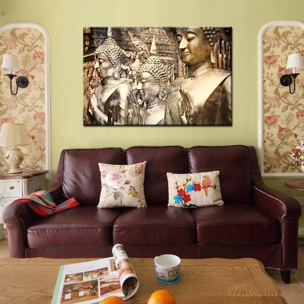 Canvas prints giclee artwork for wall d_cor vintage religion buddha painting on ready to hang 24''x36''