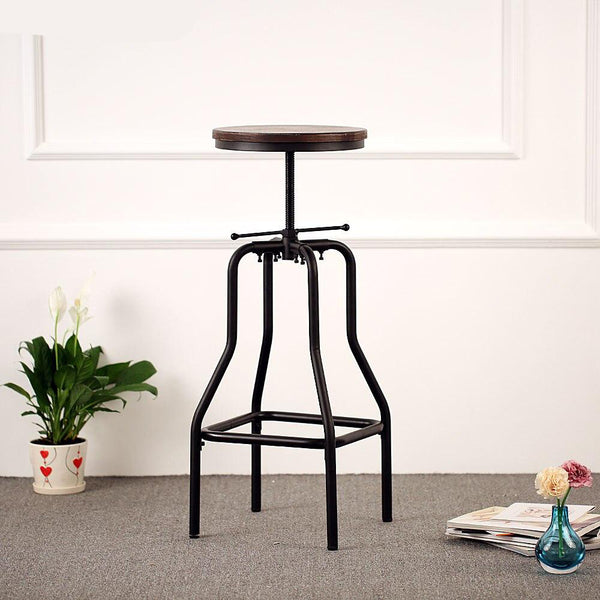 Bar stool retro style height adjustable swivel natural pinewood top kitchen dining for home