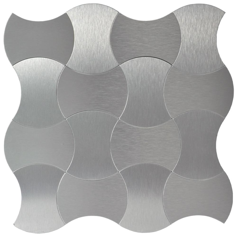 Peel stick tiles on metal steel backsplashes 10-pieces 12''x12'' brushed weaver tile