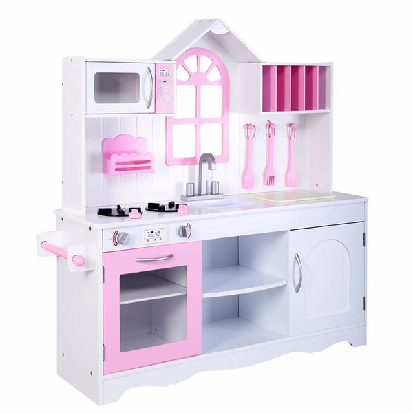 Play set kids wood kitchen toy cooking pretend toddler wooden playset