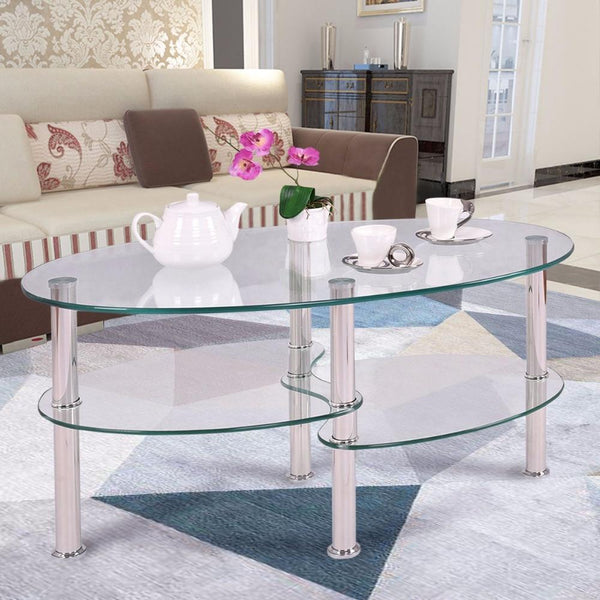 Coffee table tempered glass oval side shelf chrome base living room clear modern