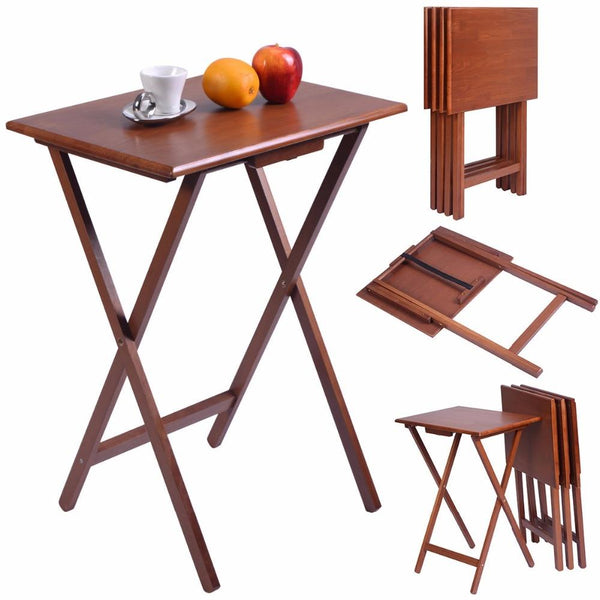 TV table set of 4 pieces portable wood folding tray desk serving furniture walnut coffee desks