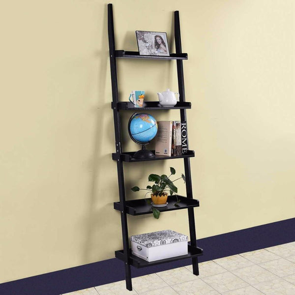 Bookcase 5-tier leaning wall pants shelf ladder storage display furniture home cabinet