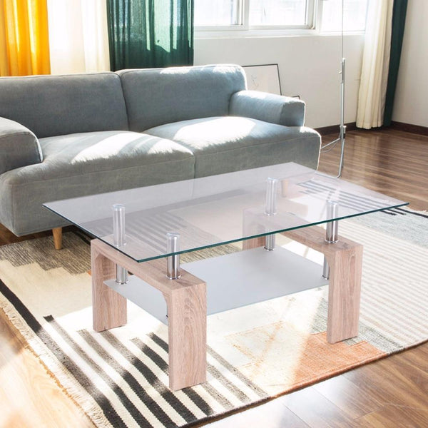 Coffee table rectangular glass with storage shelf modern wood legs side living room home furniture