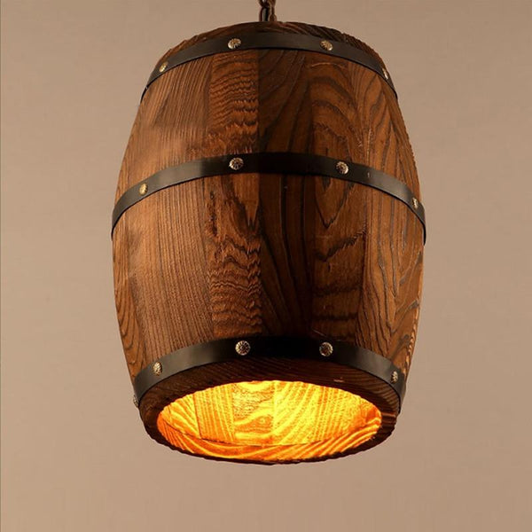 Ceiling pendant lamp modern nature wood wine barrel e27 light hanging light fixture for bar restaurant living dining room cafe