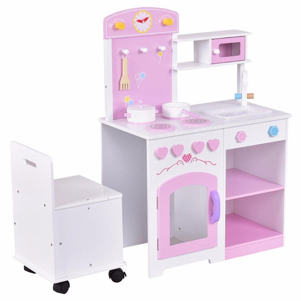 Play set 2 in 1 kids kitchen with chair wood pretend toy cooking cabinet toddler gifts