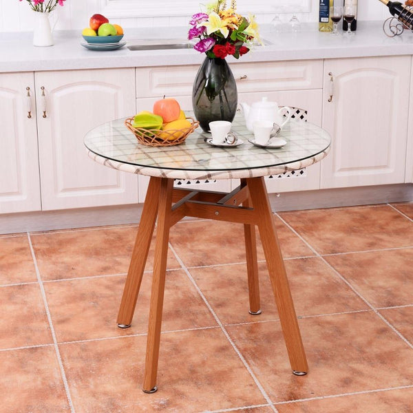 Round dining table steel frame tempered glass top modern wooden leg desk home decor kitchen furniture