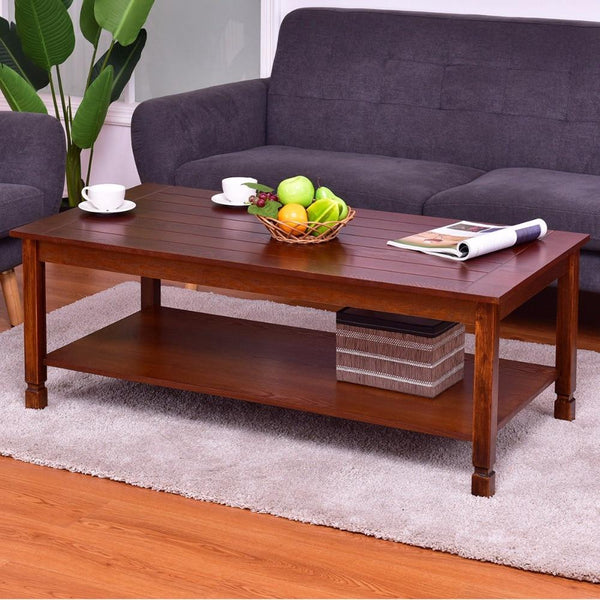 Coffee table wood rectangle cocktail with storage shelf walnut modern home living room furniture