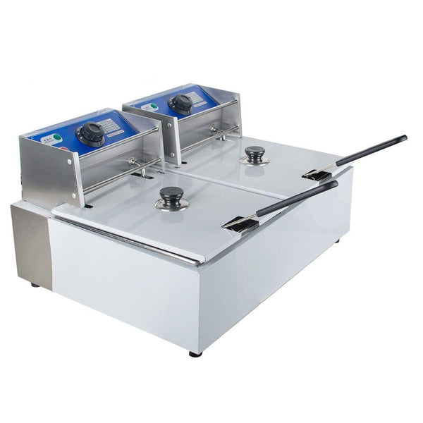 Deep fryer 5000w electric 5.5l+5.5l dual tanks commercial tabletop