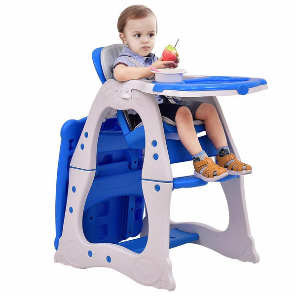 Baby high chair 3 in 1 convertible play table seat booster toddler feeding tray adjustable feed