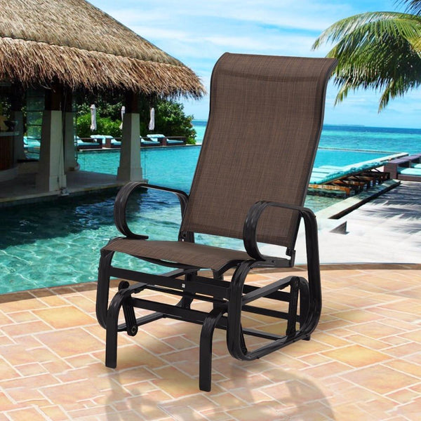 Rocking bench patio glider  person chair seat armchair pool backyard aluminum modern outdoor