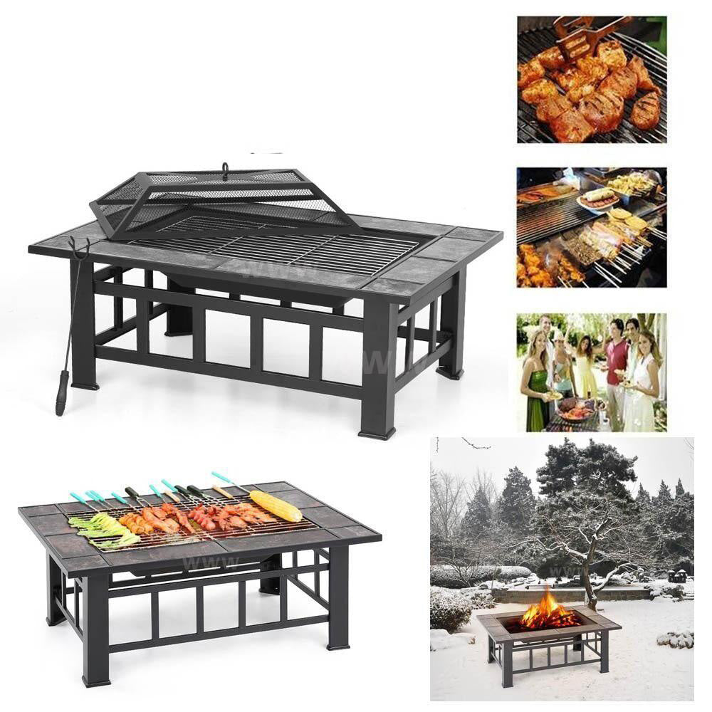 Metal fire pit garden backyard patio rectangular stove brazier outdoor cover poker bbq grill