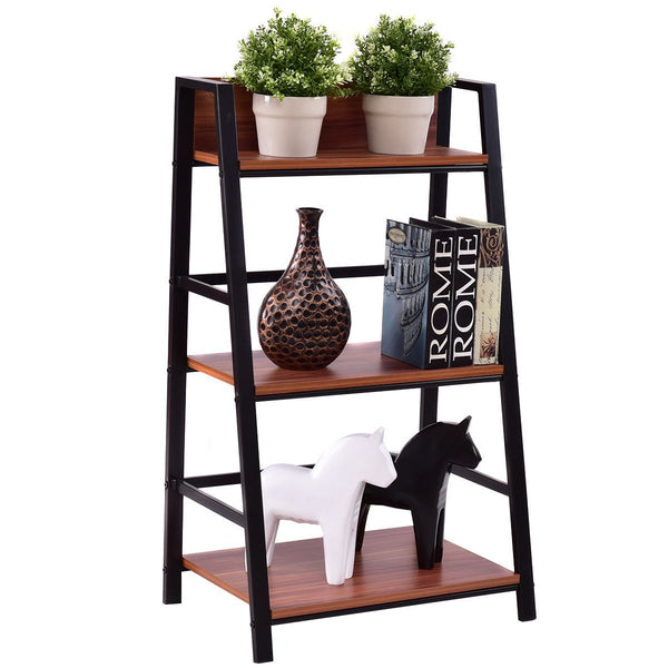 3 tier bookshelf ladder display shelf living room storage wooden wall bookcase modern floor decor furniture