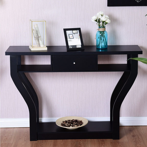 Accent table modern console sofa entryway hallway wood display desk with drawer living room furniture