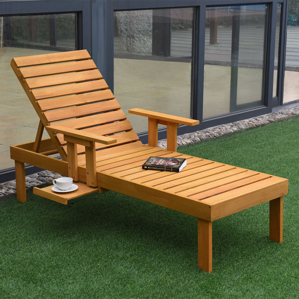 Patio lounger chaise sun outdoor furniture garden side tray deck chair modern wood beach lounge