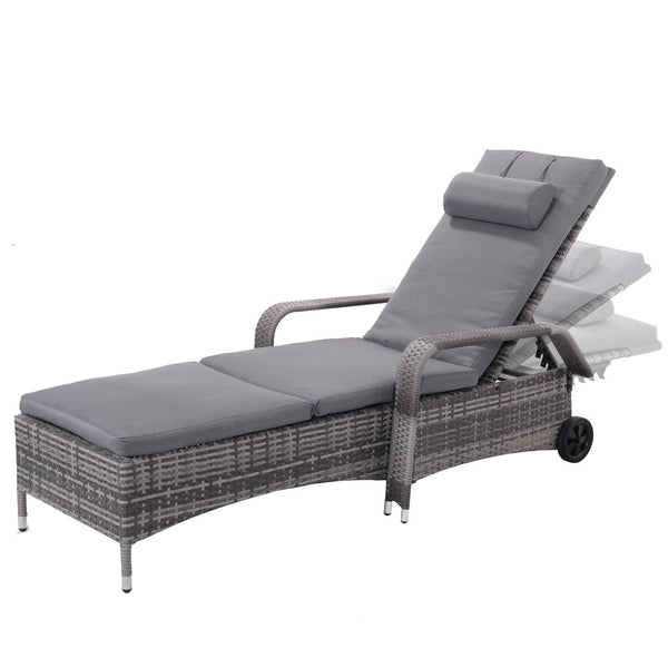 Lounge chair outdoor chaise recliner cushioned patio garden furniture adjustable chairs with wheels