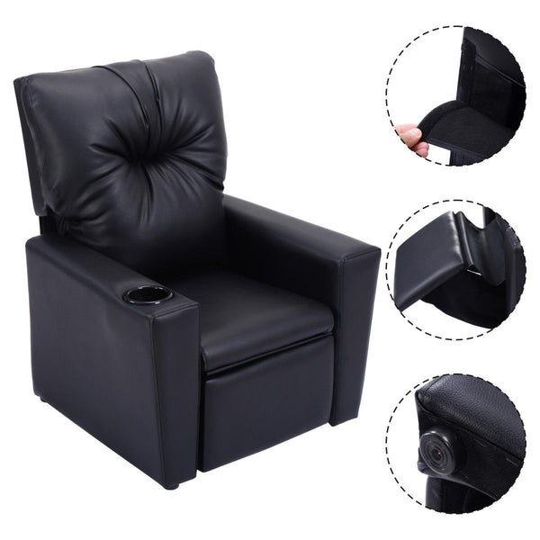 Kids sofa chair modern manual recliner leather ergonomic lounge with cup holder gift