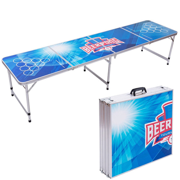 Folding table 8ft portable beer pong party gaming picnic camping desk modern indoor outdoor furniture