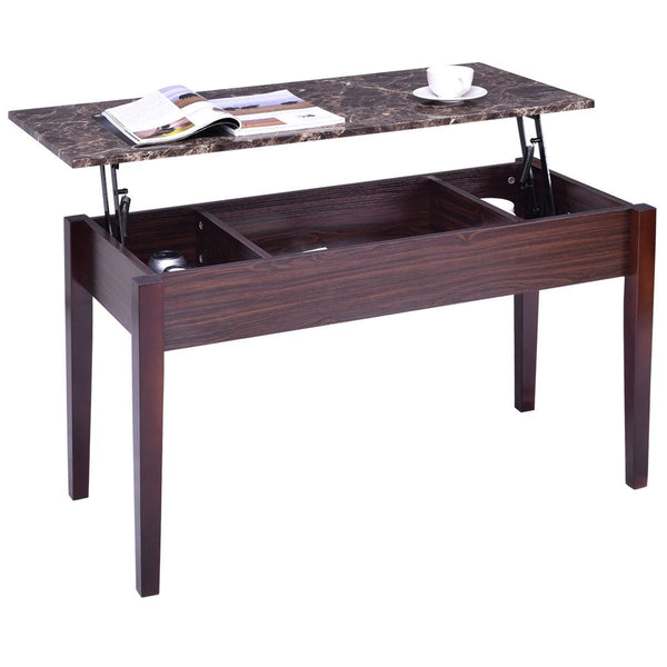 Coffee table faux marble lift top with hidden storage compartment solid wood legs modern living room furniture